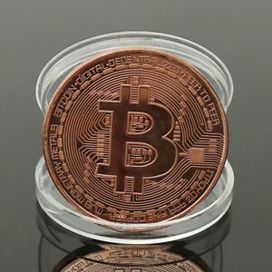 1 PC ROSE GOLD PLATED PHYSICAL BITCOIN COIN GIFT WITH PROTECTIVE ACRYLIC CASE