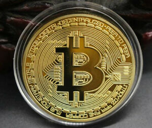NEW BITCOIN COMMEMORATIVE COLLECTORS COIN BIT COIN GOLD PLATED A72