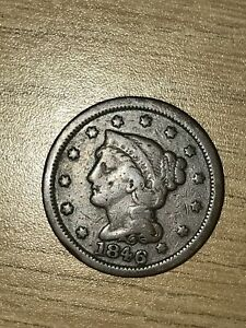 1846 UNITED STATES BRAIDED HAIR PENNY  1 CENT