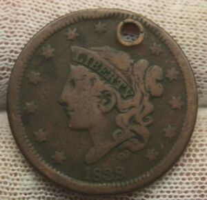 1838 LARGE CENT CORONET HEAD X1229 HOLED UNITED STATES CENT COPPER PENNY