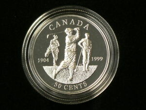 CANADA 1999 STERLING SILVER PROOF 50 CENTS 1904 FIRST GOLF CHAMPIONSHIP