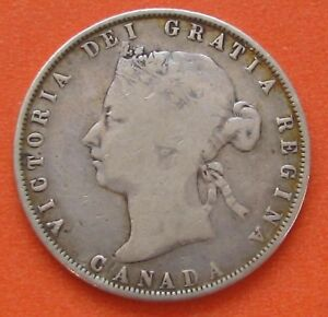 CANADA 1872 H INVERTED A/V FIFTY CENTS 50C HALF DOLLAR SILVER COIN   NICE GRADE