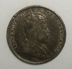 1904 CANADA 5 CENTS 5C WORLD SILVER COIN