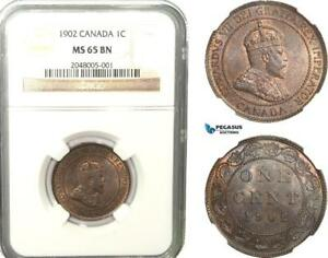 AB242 CANADA EDWARD VII 1 CENT 1902 NGC MS65BN