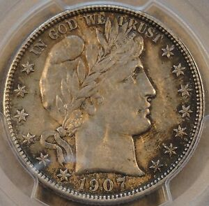 1907 O BARBER HALF DOLLAR PCGS AU58 RICHLY TONED ORIGINAL COIN