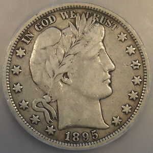 1895 BARBER HALF DOLLAR ICG F15 NICE COIN TOUGH TO FIND AT THIS GRADE LEVEL