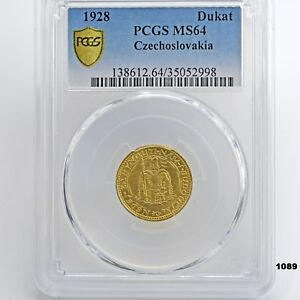 Click now to see the BUY IT NOW Price! 1928 CZECHOSLOVAKIA DUKAT DUCAT GOLD COIN PCGS MS64 KM8 KM 8  HIGHEST IN POP?