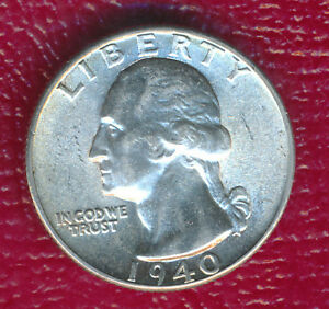1940 WASHINGTON SILVER QUARTER   CHOICE BRILLIANT UNCIRCULATED