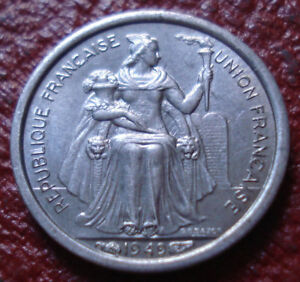 1949 NEW CALEDONIA 50 CENTIMES IN AU CONDITION