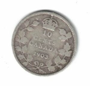 1903 H CANADA SILVER 10 CENTS
