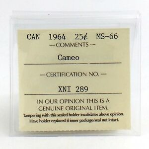 Click now to see the BUY IT NOW Price! 1964 CANADA CAMEO ICCS GRADED MINT STATE 66 TWENTY FIVE 25 CENT SILVER COIN H774