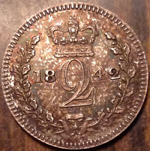 1842 GB UK GREAT BRITAIN MAUNDY SILVER TWOPENCE IN HIGH GRADE