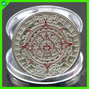 PLATED MAYAN AZTEC PROPHECY CALENDAR COMMEMORATIVE COIN ART COLLECTION GIFT