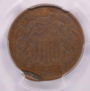 PCGS 2C 1865 TWO CENT PIECE DOUBLE STRUCK 2ND STRIKE 95  OFF CENTER VG 8