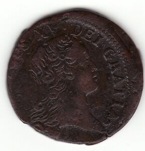 FRENCH COLONIAL NICE 1723 Q COPPER SOL BREEN  298 OFF CENTER