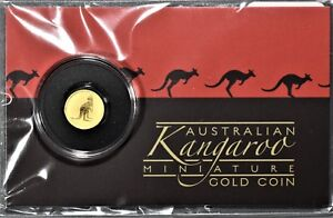 2016 AUSTRALIAN KANGAROO MINIATURE .5G .9999 GOLD COIN PERTH SEALED CARD B8230