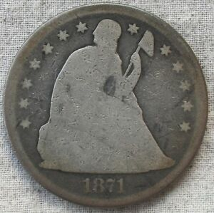 1871 UNITED STATES SEATED LIBERTY SILVER DOLLAR