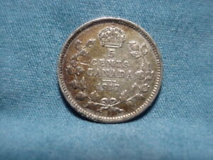 1917 CANADAIN  5 FIVE CENTS .925 SILVER