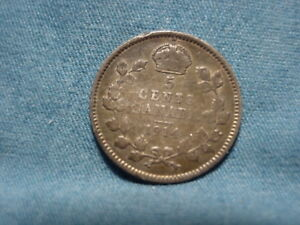 1914 CANADAIN  5 FIVE CENTS .925 SILVER
