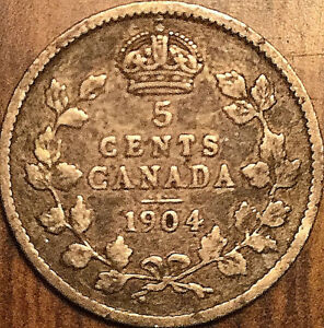 1904 CANADA SILVER 5 CENTS COIN