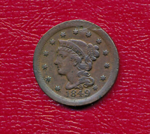 1849 BRAIDED HAIR LARGE CENT   NICELY CIRCULATED COPPER COIN