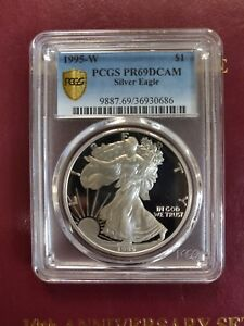 Click now to see the BUY IT NOW Price! 1995 W AMERICAN SILVER EAGLE   PCGS PR69DCAM   KEY DATE      GOLD SHIELD