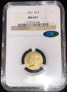 Click now to see the BUY IT NOW Price! 1927 $2.50 GOLD INDIAN QUARTER EAGLE     NGC MS65  AND CAC CERTIFIED
