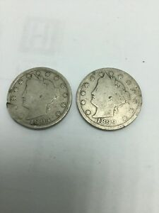 LOT OF 2 1904 AND 1899 LIBERTY HEAD NICKEL