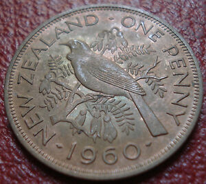 1960 NEW ZEALAND PENNY IN AU CONDITION