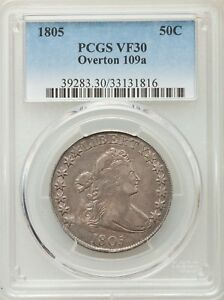 Click now to see the BUY IT NOW Price! 1805 DRAPED BUST HALF PCGS VF 30 O 109A R4