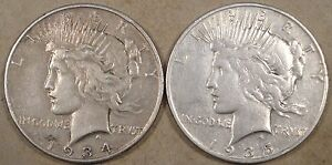 PEACE DOLLARS 1934 S VF   1935 S F VF LIGHTLY CLEANED