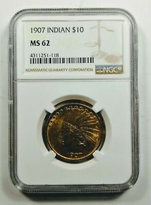 1907 $10 INDIAN HEAD GOLD EAGLE NO MOTTO NGC MS 62