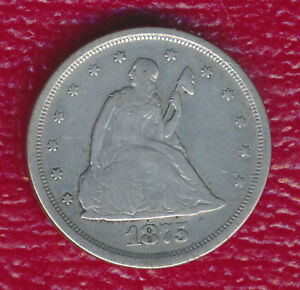1875 S SEATED LIBERTY 20 CENT SILVER HALF DIME    TYPE COIN