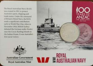 2015 20C COIN 100 YEARS OF ANZAC WWI: ROYAL AUSTRALIAN NAVY