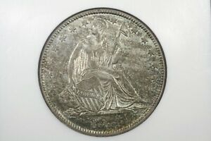 Click now to see the BUY IT NOW Price! 1844 LIBERTY SEATED HALF DOLLAR NGC AU 58 NICE COLOR