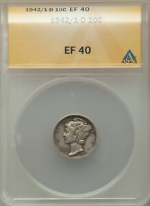 Click now to see the BUY IT NOW Price! 1942/1 D MERCURY DIME ANACS XF 40