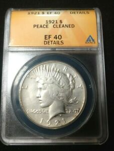 KEY DATE 1921 PEACE SILVER DOLLAR ANACS EF 40 DETAILS CLEANED