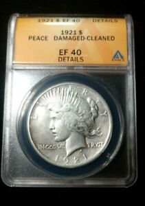 KEY DATE 1921 PEACE SILVER DOLLAR ANACS EF 40 DETAILS DAMAGED CLEANED