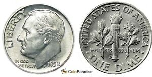 1958 D BRILLIANT UNC SILVER ROOSEVELT DIME LOW SHIPPING CP1616