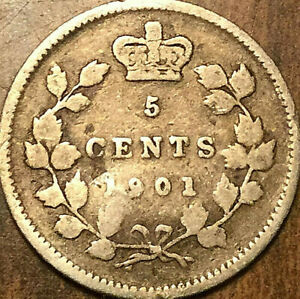 1901 CANADA SILVER 5 CENTS COIN