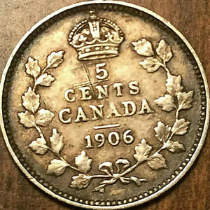 1906 CANADA SILVER 5 CENTS COIN