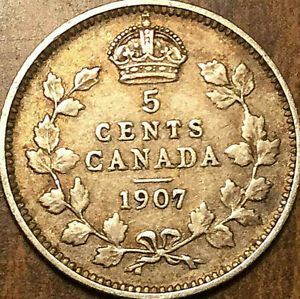 1907 CANADA SILVER 5 CENTS COIN