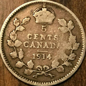 1914 CANADA SILVER 5 CENTS COIN