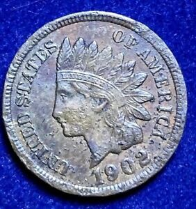 1902 INDIAN US CENT   AU   DETAILS     ULTRA LOW FIXED PRICE   I23