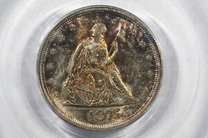 Click now to see the BUY IT NOW Price! 1875 S TWENTY CENT PIECE PCGS MS 63 BEAUTIFUL TONING