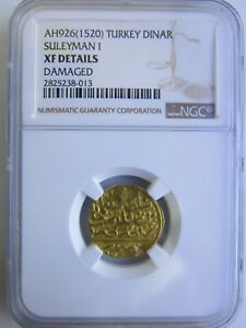 Click now to see the BUY IT NOW Price! 1520 AH926 GOLD TURKEY DINAR SULEYMAN I NGC XF DETAILS COIN