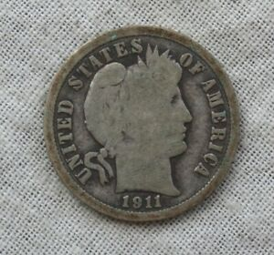 1911 D SILVER BARBER/LIBERTY HEAD DIME