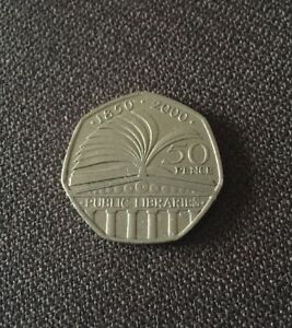 2000 50P COIN  150TH ANNIVERSARY PUBLIC LIBRARIES FIFTY PENCE