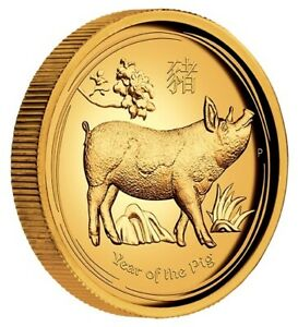 AUSTRALIAN LUNAR GOLD COIN SERIES II 2019 YEAR OF THE PIG 1OZ GOLD PROOF HIGH RE