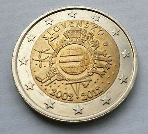 SLOVAKIA COMMEMORATIVE 2 EURO COIN   10TH ANNIVERSARY OF EURO CURRENCY  2012